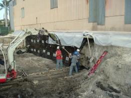 Opgraving damwanden muren